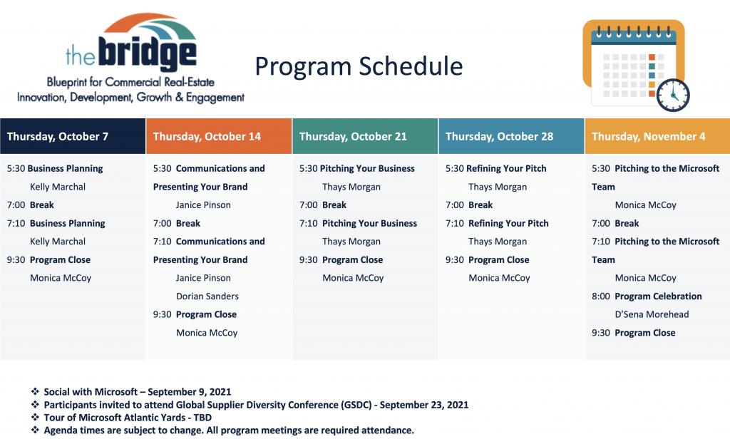 2021 Bridge Schedule